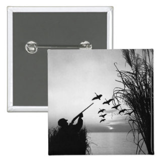 Man Duck Hunting 2 Inch Square Button