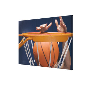 Man dunking basketball canvas print