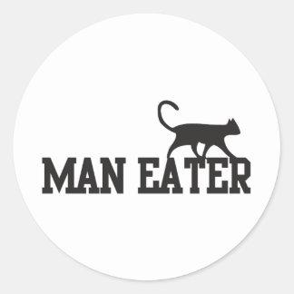 Man eater round sticker