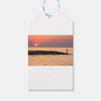 Man fishing at sunset gift tags