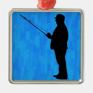 Man fishing with abstract blue background Silver-Colored square ornament