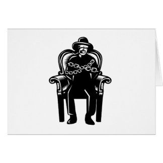 Man Gagged Chained to Grand Arm Chair Woodcut Card