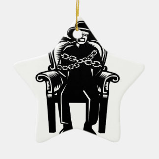 Man Gagged Chained to Grand Arm Chair Woodcut Ceramic Ornament
