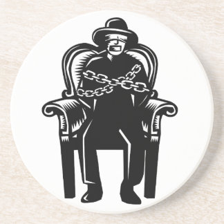Man Gagged Chained to Grand Arm Chair Woodcut Coaster