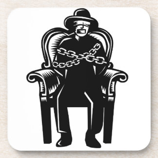 Man Gagged Chained to Grand Arm Chair Woodcut Coasters