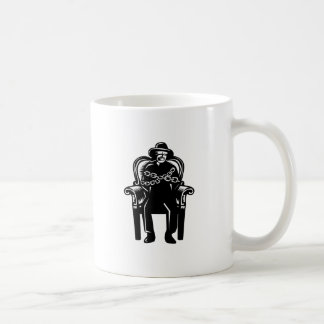 Man Gagged Chained to Grand Arm Chair Woodcut Coffee Mug