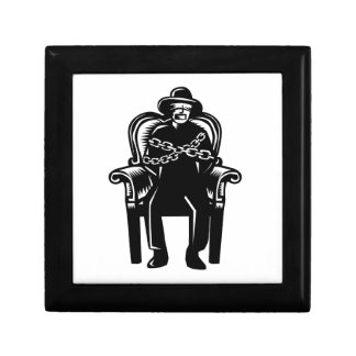 Man Gagged Chained to Grand Arm Chair Woodcut Gift Box