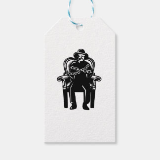Man Gagged Chained to Grand Arm Chair Woodcut Gift Tags