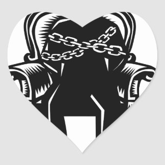 Man Gagged Chained to Grand Arm Chair Woodcut Heart Sticker