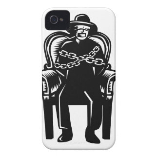 Man Gagged Chained to Grand Arm Chair Woodcut iPhone 4 Case-Mate Cases