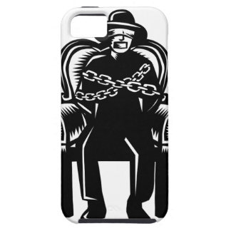 Man Gagged Chained to Grand Arm Chair Woodcut iPhone 5 Cases