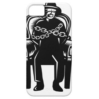 Man Gagged Chained to Grand Arm Chair Woodcut iPhone 5 Covers