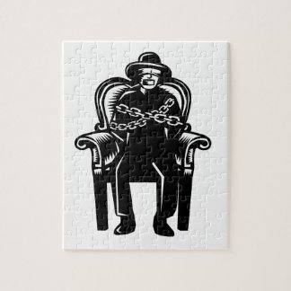 Man Gagged Chained to Grand Arm Chair Woodcut Jigsaw Puzzle