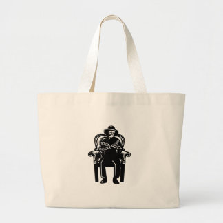Man Gagged Chained to Grand Arm Chair Woodcut Large Tote Bag
