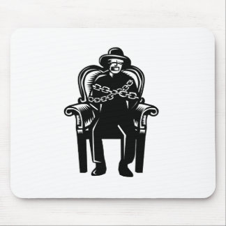 Man Gagged Chained to Grand Arm Chair Woodcut Mouse Pad