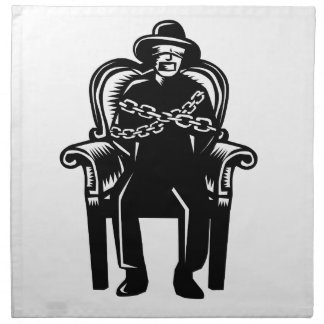 Man Gagged Chained to Grand Arm Chair Woodcut Napkin