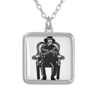 Man Gagged Chained to Grand Arm Chair Woodcut Silver Plated Necklace