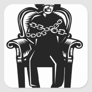 Man Gagged Chained to Grand Arm Chair Woodcut Square Sticker