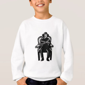 Man Gagged Chained to Grand Arm Chair Woodcut Sweatshirt