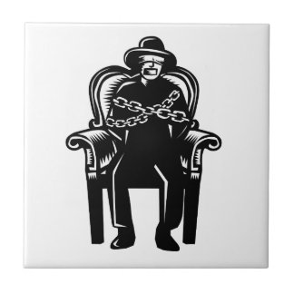 Man Gagged Chained to Grand Arm Chair Woodcut Tile