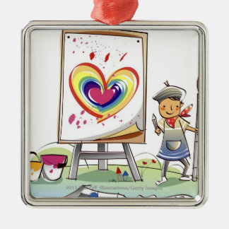 Man holding a paintbrush and standing by an easel Silver-Colored square ornament