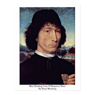 Man Holding Coin Of Emperor Nero By Hans Memling Postcard