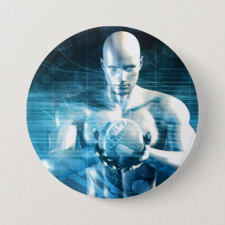 Man Holding Globe with Technology Industry 3 Inch Round Button