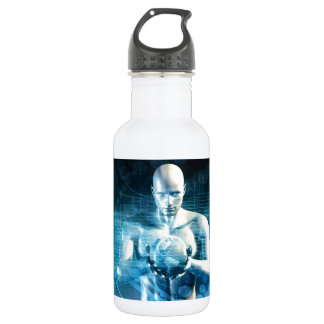 Man Holding Globe with Technology Industry 532 Ml Water Bottle