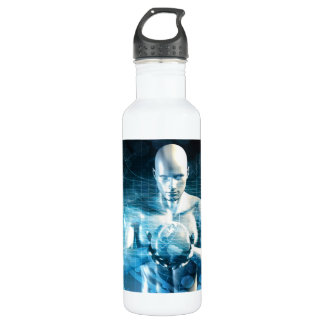 Man Holding Globe with Technology Industry 710 Ml Water Bottle