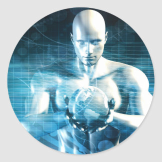 Man Holding Globe with Technology Industry Classic Round Sticker