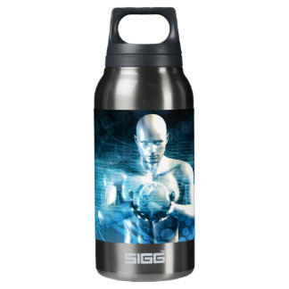 Man Holding Globe with Technology Industry Insulated Water Bottle