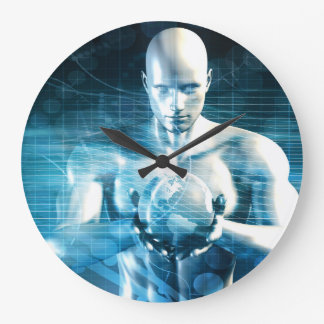 Man Holding Globe with Technology Industry Large Clock
