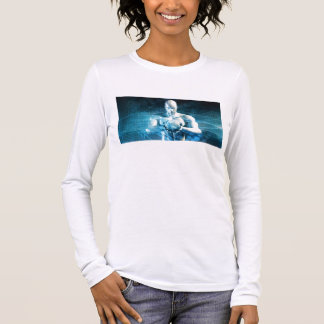 Man Holding Globe with Technology Industry Long Sleeve T-Shirt