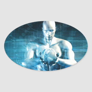 Man Holding Globe with Technology Industry Oval Sticker