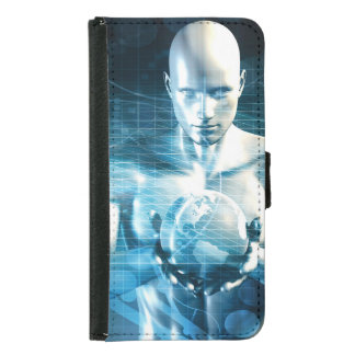 Man Holding Globe with Technology Industry Samsung Galaxy S5 Wallet Case