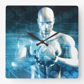 Man Holding Globe with Technology Industry Square Wall Clock