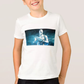 Man Holding Globe with Technology Industry T-Shirt