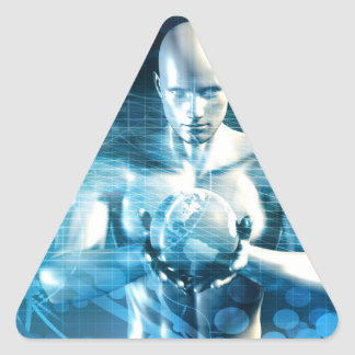 Man Holding Globe with Technology Industry Triangle Sticker