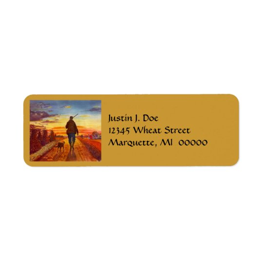 Man & Hunting Dog Walking @ Sunset Address Labels