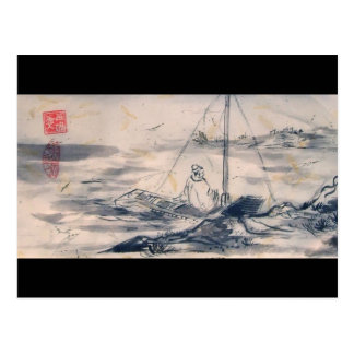 Man in a Boat Postcard
