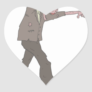Man In A Suit Creepy Zombie With Rotting Flesh Out Heart Sticker