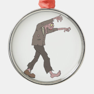 Man In A Suit Creepy Zombie With Rotting Flesh Out Metal Ornament