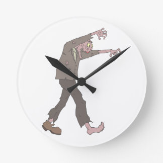 Man In A Suit Creepy Zombie With Rotting Flesh Out Round Clock