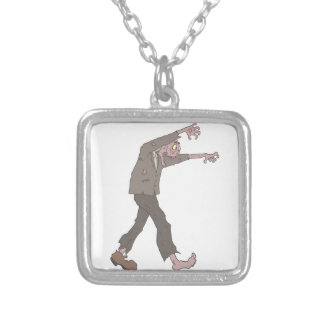 Man In A Suit Creepy Zombie With Rotting Flesh Out Silver Plated Necklace