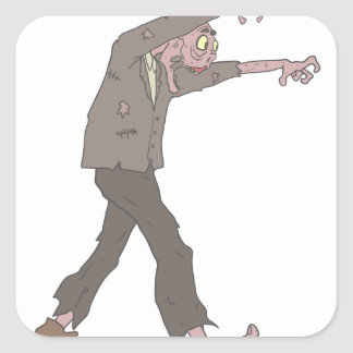 Man In A Suit Creepy Zombie With Rotting Flesh Out Square Sticker