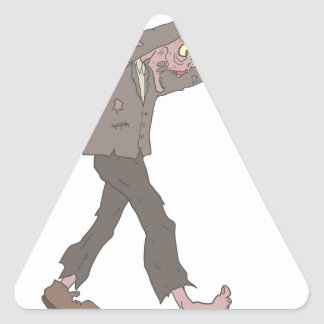 Man In A Suit Creepy Zombie With Rotting Flesh Out Triangle Sticker