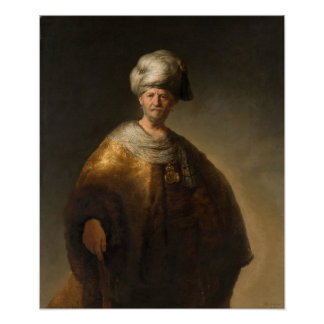 Man in Oriental Costume, by Rembrandt van Rijn Poster