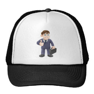 Man in suit thumbs up drawing mesh hat