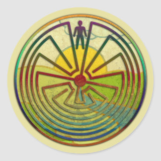MAN IN THE MAZE landscape + your background Classic Round Sticker