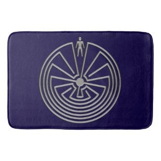 MAN IN THE MAZE silver + your background Bath Mat